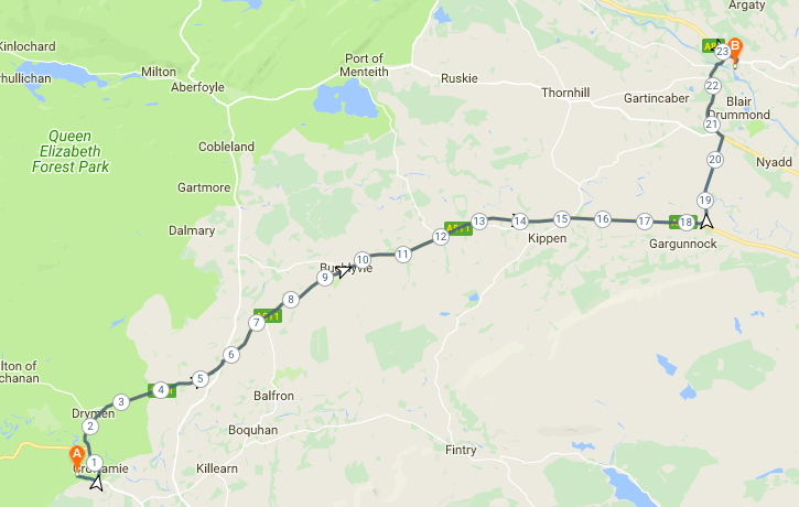 Route from Appletree Cottage to Doune Castle