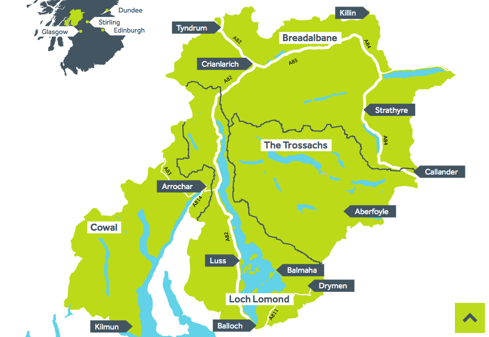 A map showing the four areas of Loch Lomond and the Trossachs National park is fully clickable on website: http://www.lochlomond-trossachs.org/explore-by-map/